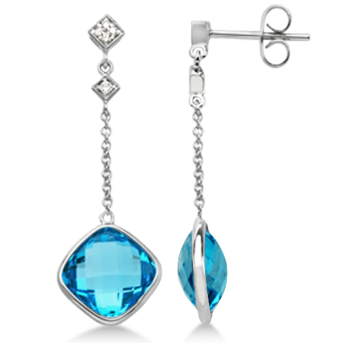 Diamond and Swiss Blue Topaz Drop Earrings 14k White Gold (10.05ct)