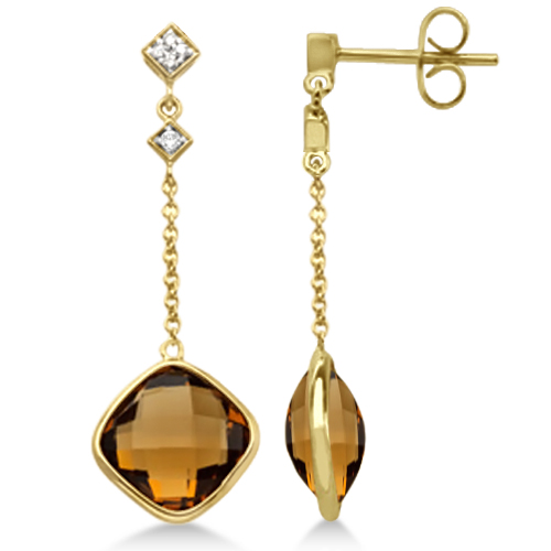 Diamond and Quartz Drop Earrings 14k Yellow Gold (7.05ct)