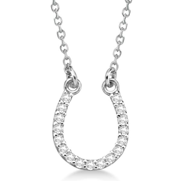 Diamond Horseshoe Pendant Necklace 14k White Gold 0.10ct
