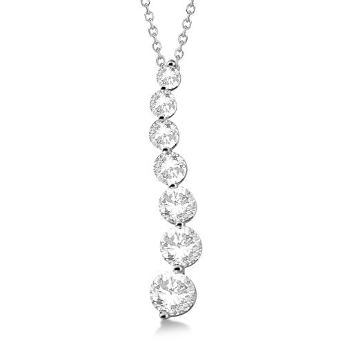 Seven Stone Moissanite Journey Pendant Necklace 14K White Gold 1.50ctw