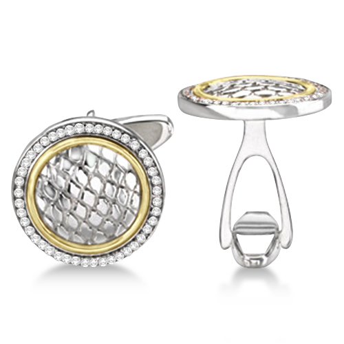 Round Engraved Diamond Cuff Links 14k Gold & Sterling Silver (0.50ct)