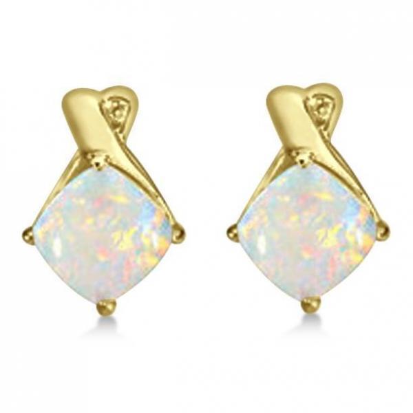 Diamond & Cushion Opal Drop Earrings 14k Yellow Gold (2.70ct)