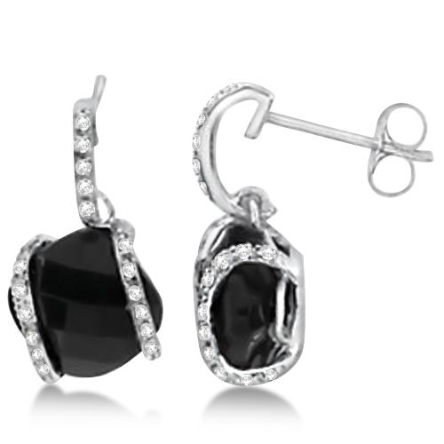 Cushion Cut Black Onyx Earrings with Diamonds 14K White Gold 3.25ct
