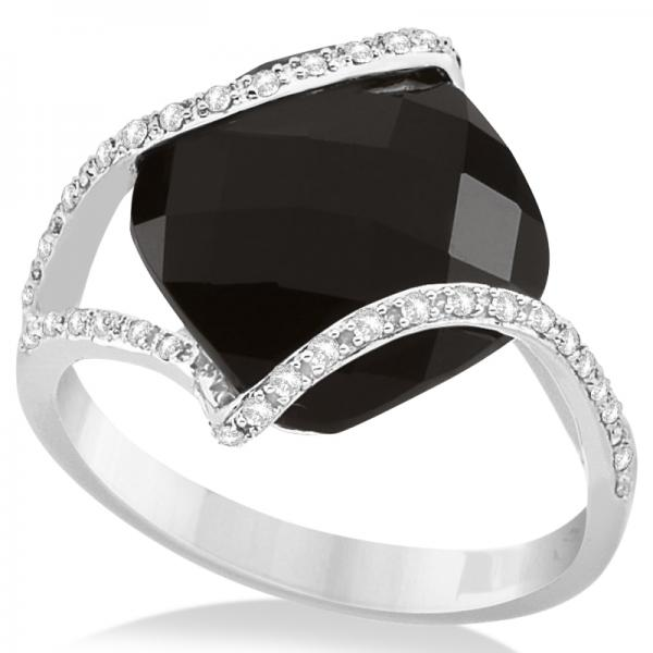 Diamond & Cushion Cut Black Onyx Fashion Ring 14k White Gold (7.04ct)
