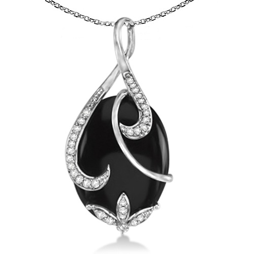 Genuine Oval Black Onyx & Diamond Twist Pendant 14K White Gold 23.55ct