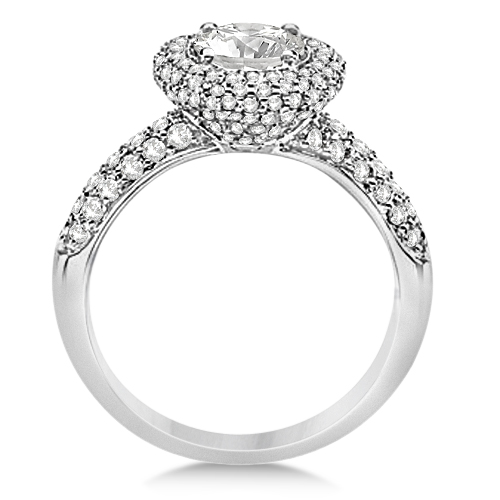 Moissanite & Diamond Pave Halo Engagement Ring 14K White Gold 2.60ctw
