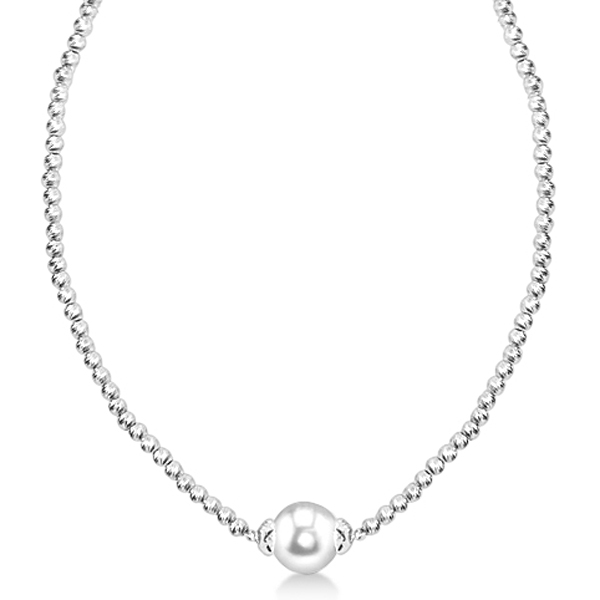 Freshwater Pearl Solitaire Pendant Necklace w/ Brilliance Beads 9-10mm