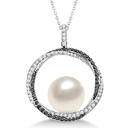 South Sea Pearl Pendant w/ White & Black Diamonds 14K W. Gold (12mm)