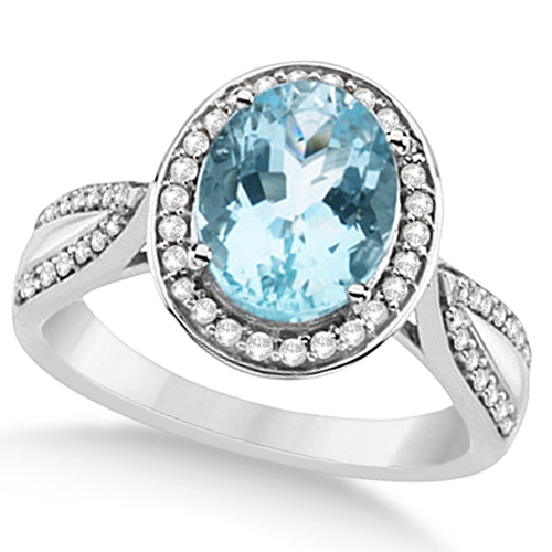 Halo Style Diamond and Aquamarine Ring 14k White Gold (2.50ct)