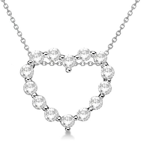 Moissanite Open Heart Pendant Necklace 14K White Gold 0.88ctw