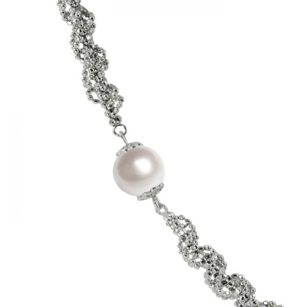 Cultured Freshwater Pearl Necklace Sterling Silver Links 8-8.5mm