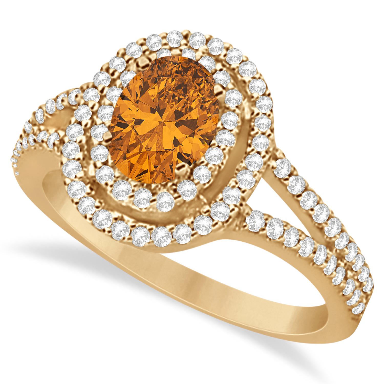 Double Halo Diamond & Citrine Engagement Ring 14K Rose Gold 1.34ctw