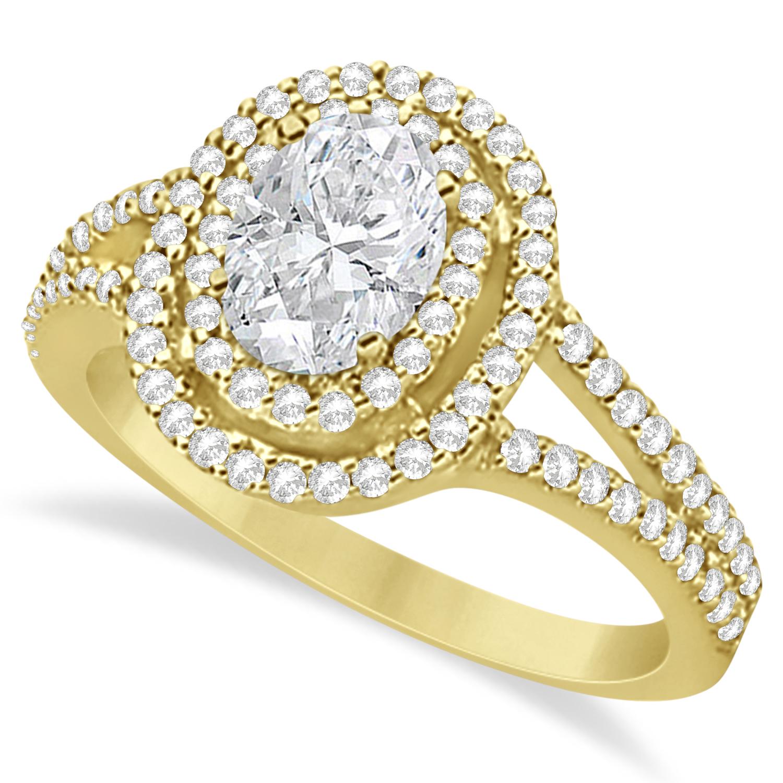 Double Halo Diamond Engagement Ring 14K Yellow Gold 1.34ctw