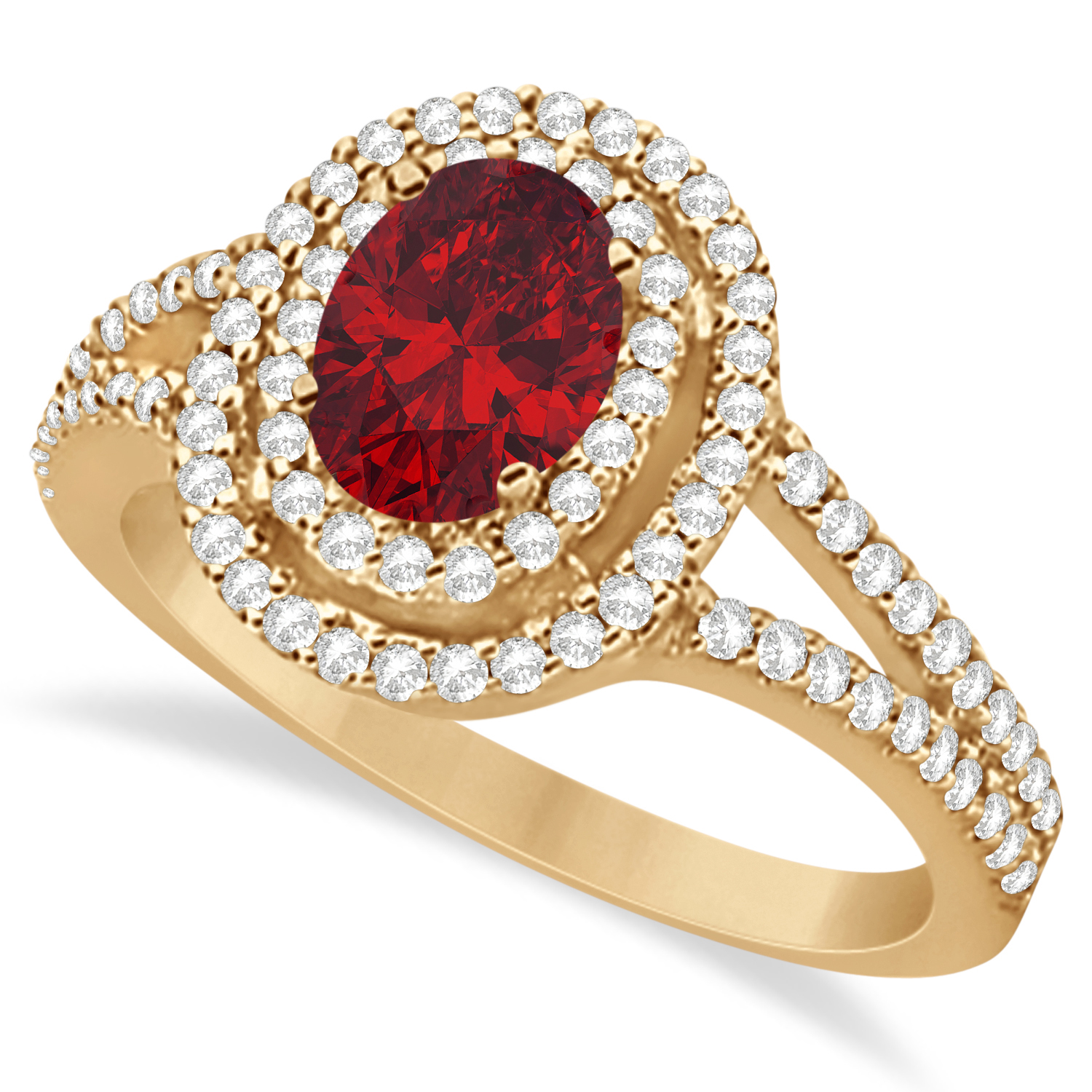 Double Halo Diamond & Ruby Engagement Ring 14K Rose Gold 1.34ctw