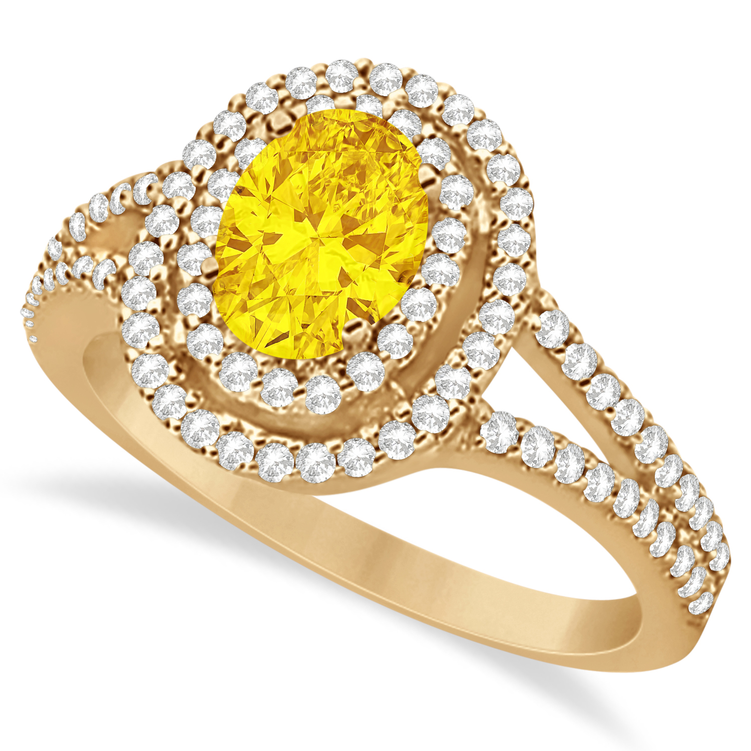 Double Halo Diamond & Yellow Sapphire Engagement Ring 14K Rose Gold 1.34ctw