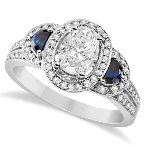 diamond blue sapphire moissanite engagement ring 14k w gold 178ctw - Moissanite Wedding Rings