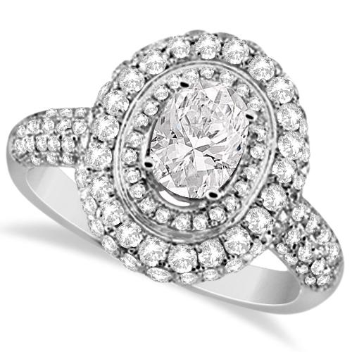 Oval Cut Moissanite & Diamond Double Halo Ring 14K W. Gold 2.09ctw
