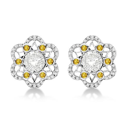 Moissanite, Yellow Sapphire & Diamond Stud Earrings 14K W. Gold 0.70ctw