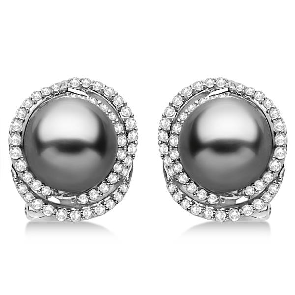 Tahitian Cultured Pearl & Diamond Stud Earrings 14K White Gold (9mm)
