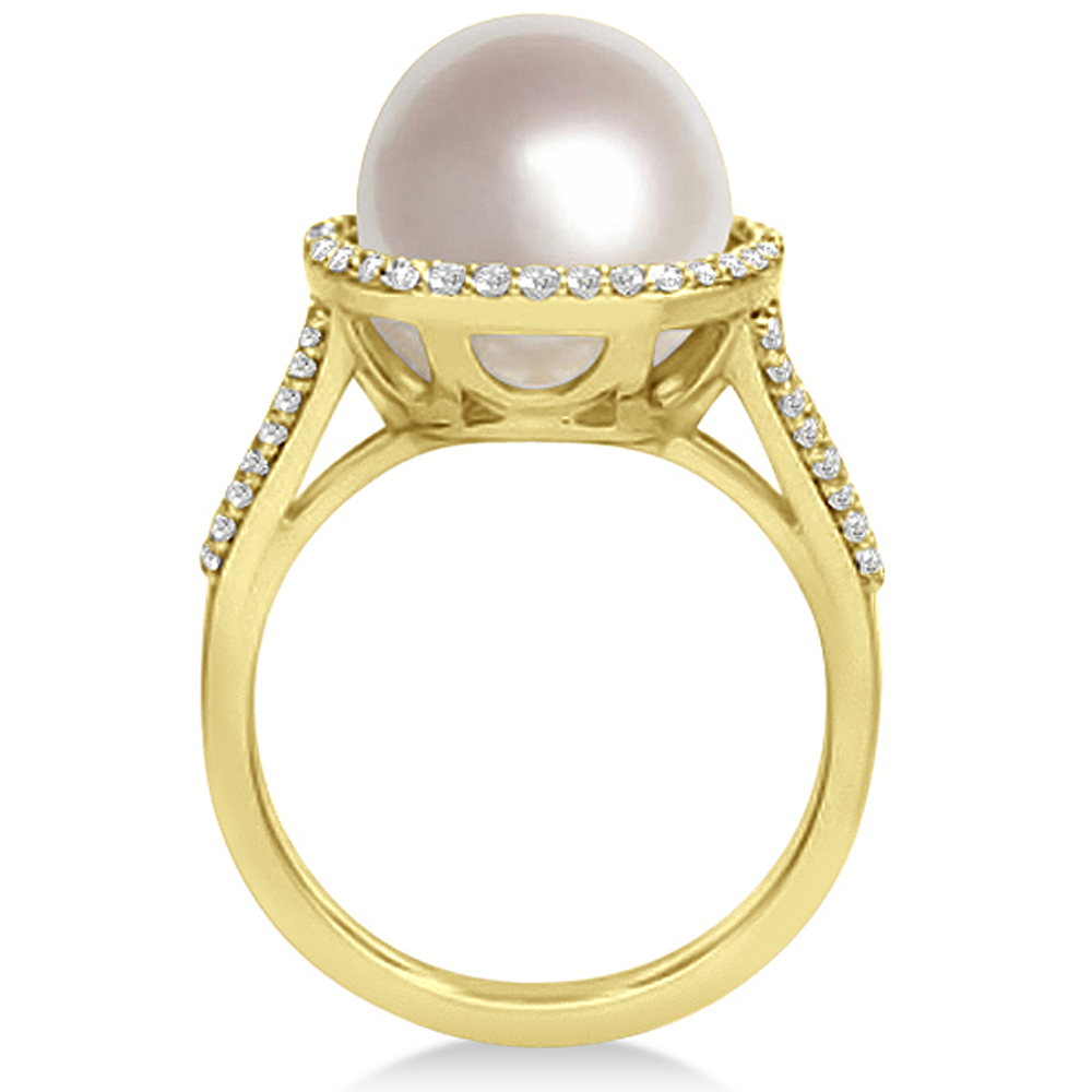 south sea cultured pearl and diamond halo ring 14k yellow. Black Bedroom Furniture Sets. Home Design Ideas