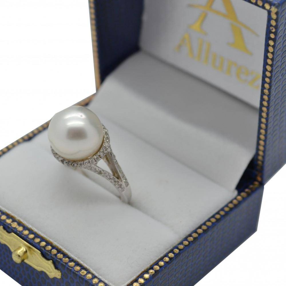 South Sea Cultured Pearl and Diamond Halo Ring 14K W. Gold (11mm)