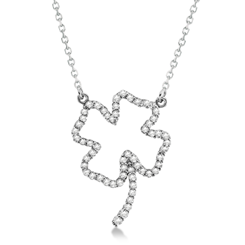 Four Leaf Clover Shaped Diamond Necklace 14K White Gold 0.33ctw