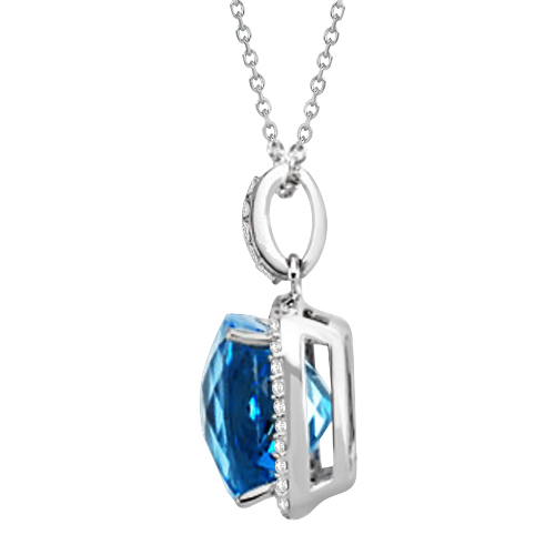 Cushion Cut Blue Topaz & Diamond Halo Pendant 14K White Gold 8.75ctw