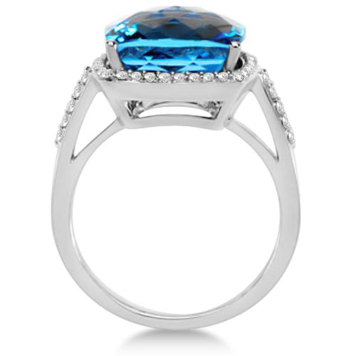 Checkerboard Swiss Blue Topaz & Diamond Halo Ring 14K W. Gold 8.75tcw