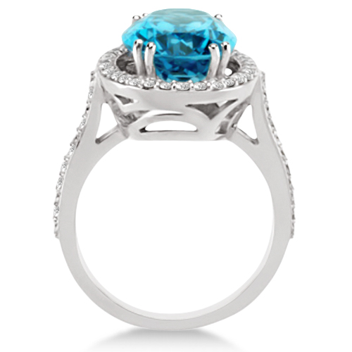 Halo Style Diamond and Swiss Blue Topaz Ring 14k White Gold (6.50ctw)