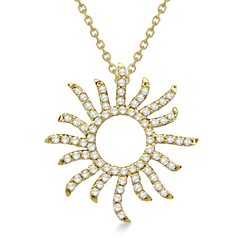 Diamond Sunburst Necklace in 14k Yellow Gold (0.40ct)