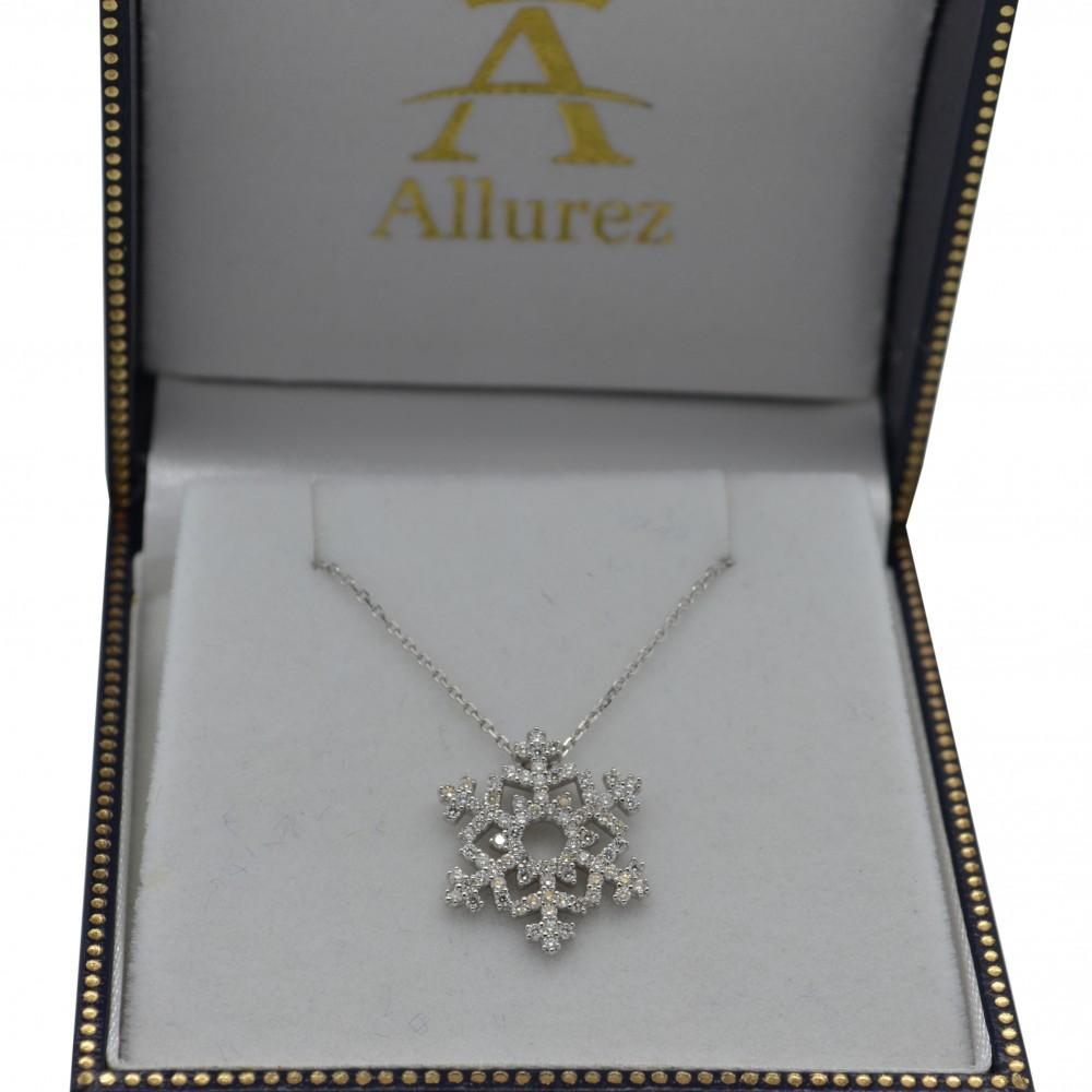 Diamond snowflake pendant chain 14k white gold 038ct ladies diamond snowflake pendant chain 14k white gold 038ct mozeypictures Gallery