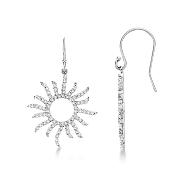 Dangling Drop Diamond Sun Earrings 14k White Gold (0.75ct)