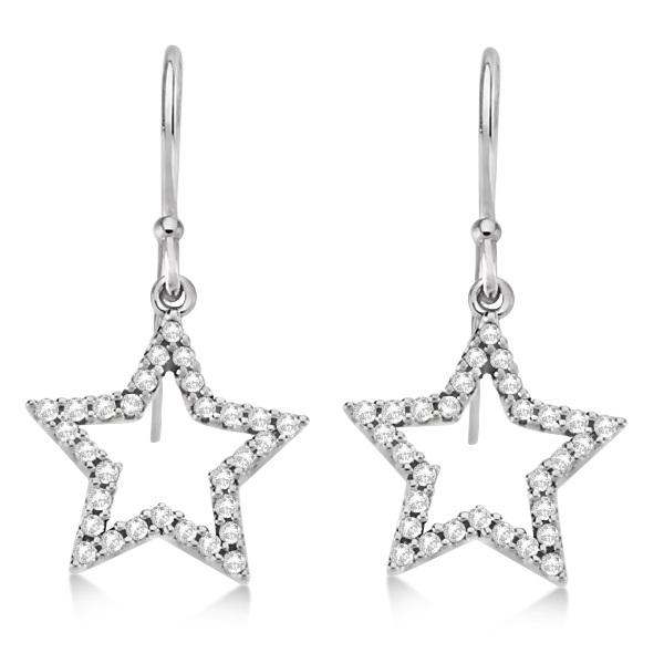 Dangle Diamond Star Earrings 14k White Gold (0.34ct)