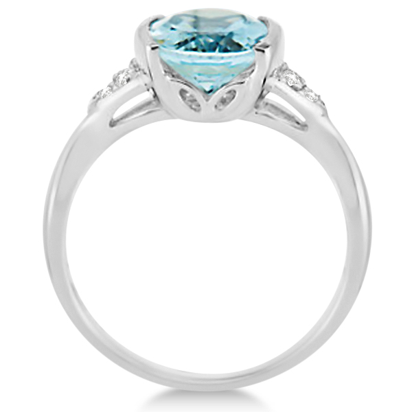 Chanel Set Aquamarine & Diamond Ring 14K White Gold 2.16ctw