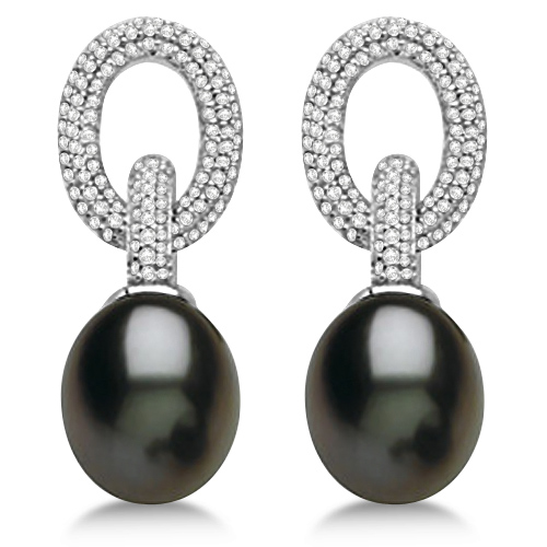 Freshwater Cultured Black Pearl & Diamond Earrings 14K W. Gold (10-11mm)
