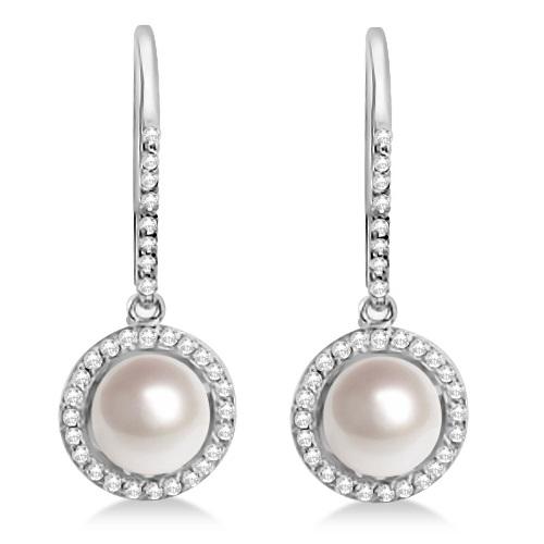 Freshwater Cultured Pearl & Diamond Halo Earrings 14K W. Gold (7.50-8mm)