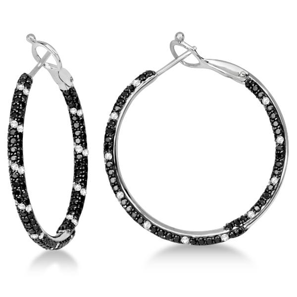 Black & White Diamond Double Sided Hoop Earrings 14K W. Gold 2.00ctw