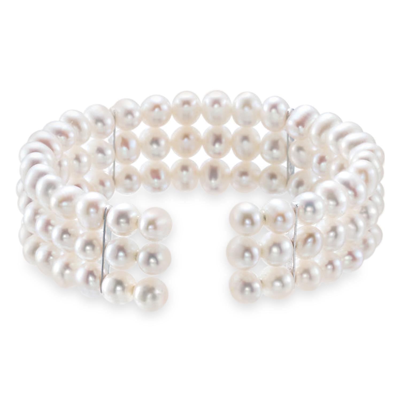 Pearl Cuff Bracelet 925 Sterling Silver (5.0-6.0 mm)