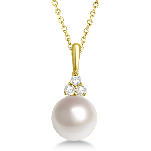 AAA Quality Freshwater Pearl & Diamond Necklace 14K Yellow Gold (7.5-8mm)