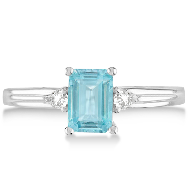 emerald cut aquamarine amp diamond engagement ring 14k white