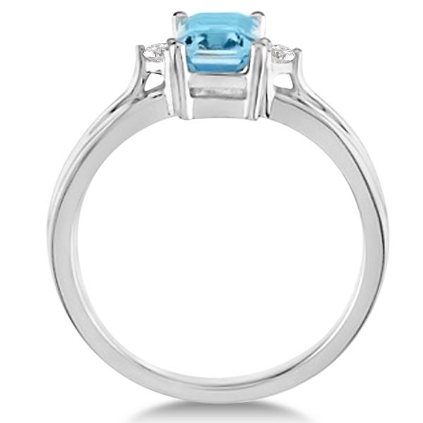 Emerald Cut Aquamarine & Diamond Engagement Ring 14k White Gold 1.01ct