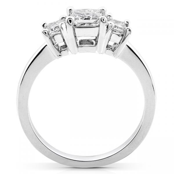 3-Stone Princess Cut Diamond Promise Ring 14k White Gold 1.05ct