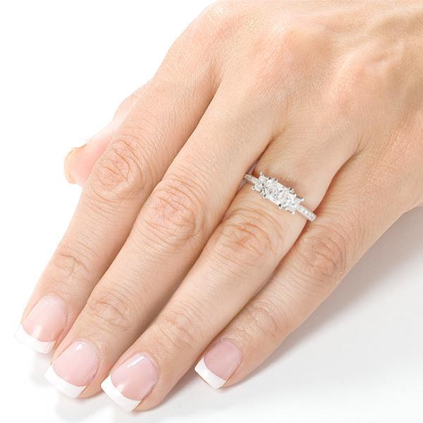 3-Stone Princess Cut Diamond Promise Ring 14k White Gold 0.55ct