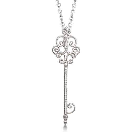 Antique Scroll Diamond Key Pendant Necklace Sterling Silver (0.15ct)