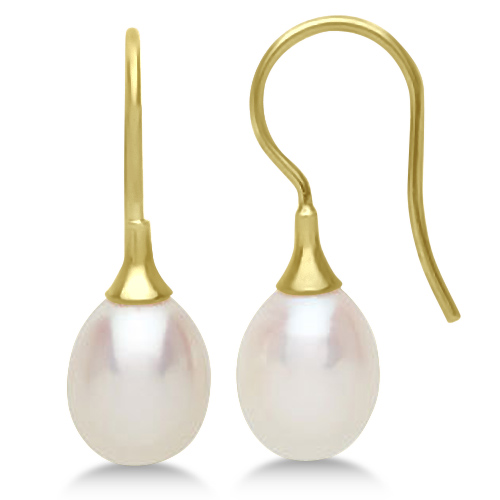 Freshwater Cultured Pearl Drop Earrings in 14K Yellow Gold (8-8.5mm)