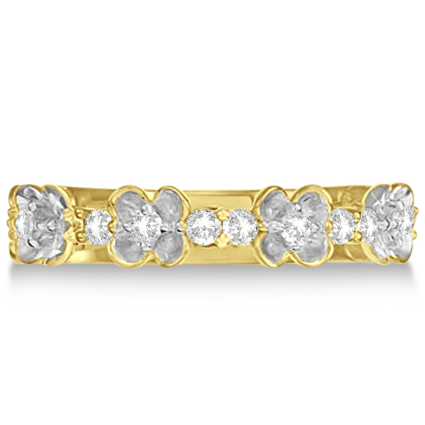 Flower Shape Diamond Anniversary Ring Wedding Band 14k Yellow Gold 0.38ct
