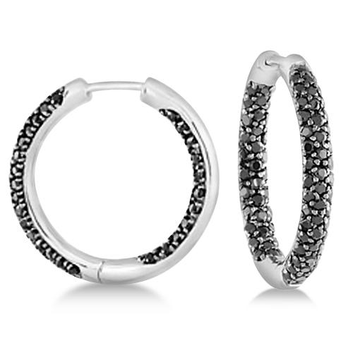 Double Sided Black Spinel Hoop Earrings Sterling Silver 1.93ctw