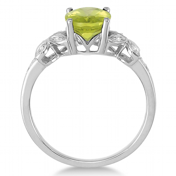 Diamond and Peridot Butterfly Ring 14kt White Gold (2.56ct)