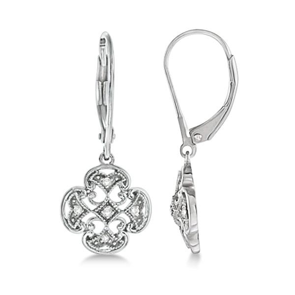 Diamond Four Leaf Clover Earrings 14k White Gold (0.10ct)