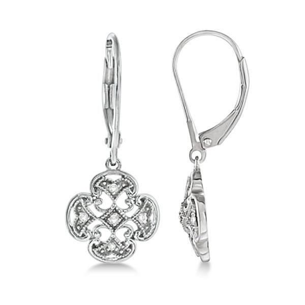 Diamond Four Leaf Clover Earrings in Sterling Silver (0.10ct)